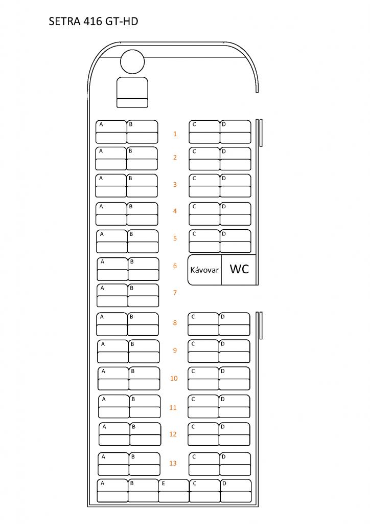 Zasedací pořádek Setra S 416 GT-HD